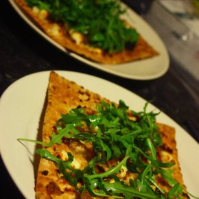 Norwich Again + Goat's Cheese, Caramelised Onion, Honey & Rocket Flatbread Pizza
