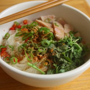Rice Noodle Soup with Ham and Watercress + Garlic Oil