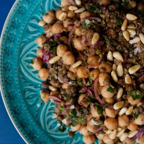 Lentil and Chickpea Salad with Coriander, Cumin, and Garlic Oil