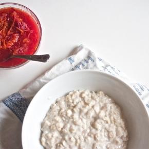 Blood orange & jaggery + porridge with butteryoats