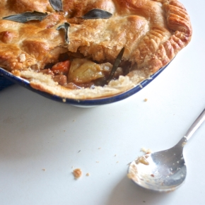 Pork pot pie, or a herby pork stew with apple topped with a flaky pastry lid