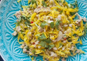 Raw golden beetroot and pork salad with chilli & other face-destroying things