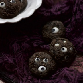 Black tahini cookies, with optional eyeballs