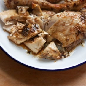 Roast half chicken in classic Thai marinade ไก่อบ