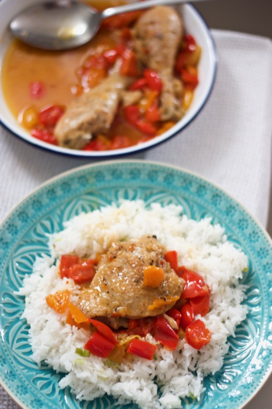 One pot chicken with peppers from Ruby Tandoh's Flavour